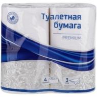 Бумага туалетная OfficeClean Premium 3-слойная, 4шт., тиснение, белая