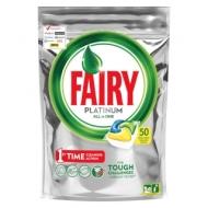 Капсулы для посудомоечной машины Fairy Platinum. All in 1. Лимон, 50шт.