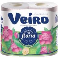 Бумага туалетная Veiro Floria. Душистый пион 2-х слойн., 4шт., тиснение, с рисунком, белая