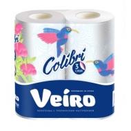 Полотенца бумажные в рулонах Veiro Colibri, 3-х слойн.,13,5м, тиснение, белые, 2шт.
