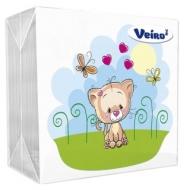 Салфетки бумажные Veiro 1 слойн., 24*24см, белые, с рисунком Котик, 50шт.