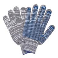 Перчатки хлопчатобумажные, комплект 5 пар, 10 класс, 50-52 г, 133 текс, ПВХ-точка, Лайма Люкс 2, серые, 604474