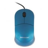 Мышь проводная Sonnen М-2241Bl, USB, 1000 dpi, 2 кнопки + 1 колесо-кнопка, оптическая, голубая, 512636