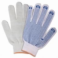 Перчатки хлопчатобумажные, Комплект 200 пар, 10 класс, 32-34 83 текс, ПВХ точка, Лайма Бюджет, Белые, 601912