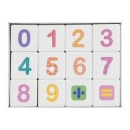 Кубики пластиковые Весёлая арифметика 12 шт., 4х4х4 см, цветные цифры на белых кубиках, 10 КОРОЛЕВСТВО, 708