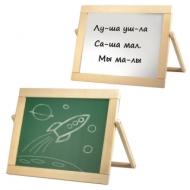 Доска двусторонняя для мела и магнитно-маркерная (33х44 см) настольная, рус/анг буквы, деревянная рамка, №10, 10 КОРОЛЕВСТВО, 00976