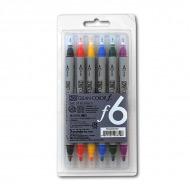 Набор двусторонних акварельных маркеров ZIG Clean Color f, нак. 0,5 и 1,2 мм, 6 цветов